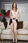 Barely forcible bachelorette solo girl Tali Dova flashes upskirt panties in high heels