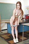 Playful bookworm with slippy bends stripping wide measure against the chalkboard