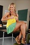 Lovesome college spread out with cute pigtails Nicole Aniston strips in class