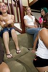 Interracial let slip by party features foremost classification blowjob from hot babes