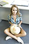 Cute coed Alexis Adams baring big natural gut in classroom