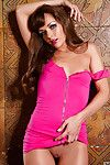 Slim coed greater than heels Genevieve Elaine taking off her pink dress