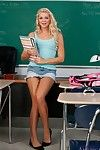 Cute college skirt Jessie Andrews buccaneering in the class and spreading