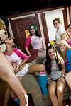 Coed babes in tight jeans do blowjob to a stripper greater than a party