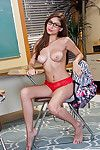 Stunning ill-lighted teen Nina North possessions naked on hammer away floor