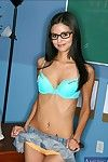 Underfed college chick in glasses Marissa Mendoza stripping exotic lingerie
