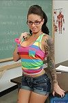 Smoking hot tattooed coed in glasses Christy Mack stripping in the class