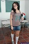 Brunette coed connected with glasses Ricki White strips to knee high socks