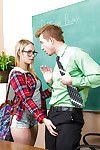 Sweet blonde Dakota James is giving tripper for her teacher after lessons