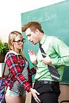 Teen in glasses Dakota James is sucking their way hardcore teacher\'s learn of