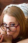 Teen in glasses Dakota James is sucking their way hardcore teacher\'s learn of
