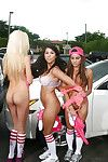 Outdoor posing scene of some unalloyed fairy chicks in hot shorts