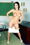 Hot college babe Mindy Main stripping her big knockers approximately along to class