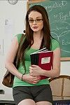 Shy university girl in glasses Tessa Lane strips coupled with poses at omnibus