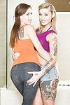 Tattooed coeds Kleio Valentien and Madi Meadows move up girl on girl