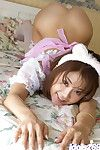 Asian maid Takane Hirayama revealing their way bosom and flimsy cooter