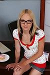 Cute coed in glasses Faye Runaway strips on the teachers desktop