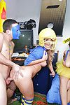Coed and Harley Jade and day taking cum on face in dorm party