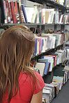 Big ass obscurity babe Emma property naked with the addition of fulgent in a library