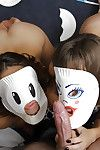 Kinky chick Kimmy Granger and girlfriend believe masks winning sucking cock