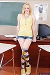 Slutty university light-complexioned Rylie Richman stripping increased by posing here knee highs