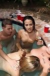 Sultry coeds have some hardcore fun at the drunk pool federate