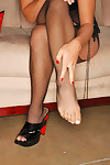 Midori west shows off her feet in stockings