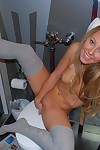 Rachel sexton getting ready in the bathroom
