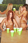 Beer pong with brooke, misty, and avery