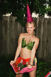 Rachel sexton is gnome alone erotic dancing in the yard