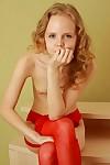 Petite teen girl bare in nylons
