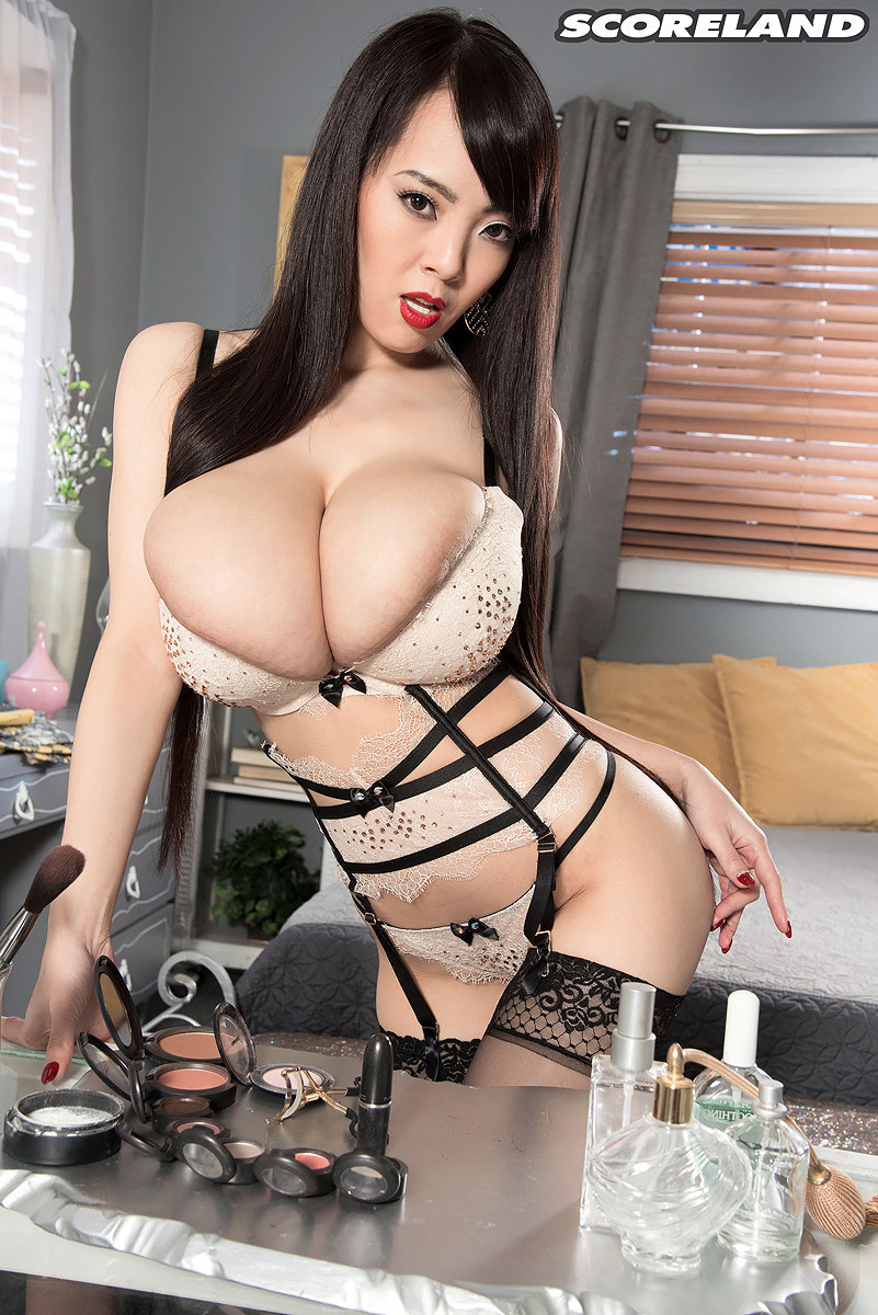 Busty japanese in stockings