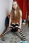 Cute nineteen year old youthful in knee highs