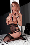 Curvy nikki sims is lovely in g thong and nylons