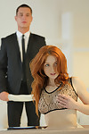 Attractive redhead is bound up and obtains her twat hammered away at