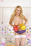 Katie kay shows off her appealing body in the kitchen