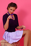Tempting dark brown sammie pennington in short skirt