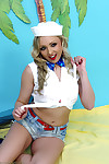 Sweet fairy-haired cutie on perverse island in bikini and denim damp pants.